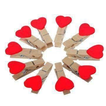 Heart Wooden Paper Clips - BulkHunt - Wholesale Return Gifts Online
