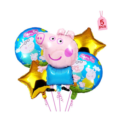 Peppa Pig 5 Pcs Foil Balloons - BulkHunt - Wholesale Return Gifts Online