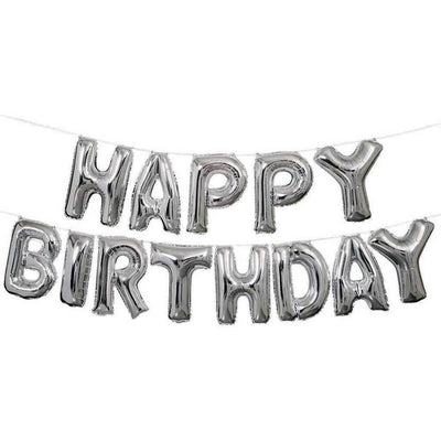Silver Happy Birthday Foil Balloons - BulkHunt - Wholesale Return Gifts Online