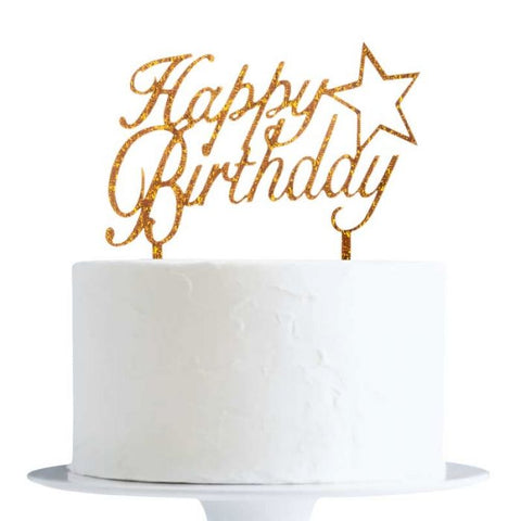 Cake Topper Happy Birthday Star Gold - BulkHunt - Wholesale Return Gifts Online