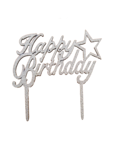 Cake Topper Happy Birthday Star Silver - BulkHunt - Wholesale Return Gifts Online