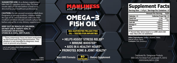 Manliness OMEGA-3 FISH OIL | Can Reduce Heart Risk | Fight Inflammation |  Helps Fight Depression And Anxiety | 60 Caps