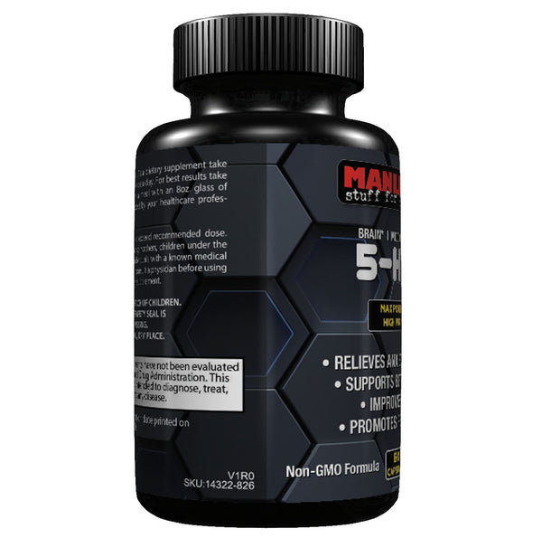 Manliness 5-HTP | 200 MG Plus Calcium | BRAIN | MOOD | SLEEP Relieves Anxiety And Stress | 60 Caps