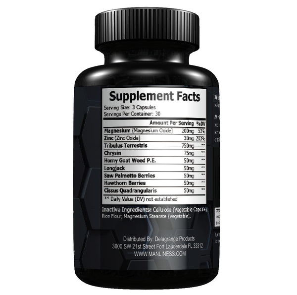 Manliness ANABOLIC CORE | Magnesium Activation Technology | Horny Goat Weed, Tribulus, Saw Palmetto, Longjack | Supports Natural Testosterone Production | 90 Caps