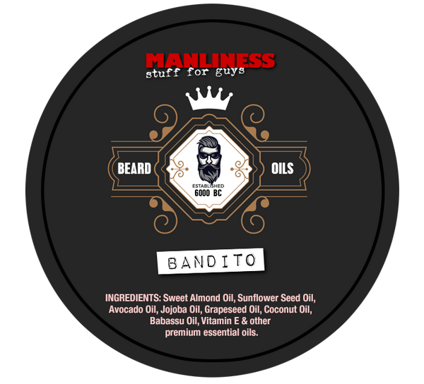 MANLINESS Beard Balm - Bandito | Conditioner & Styling Pomade | 2 Oz.