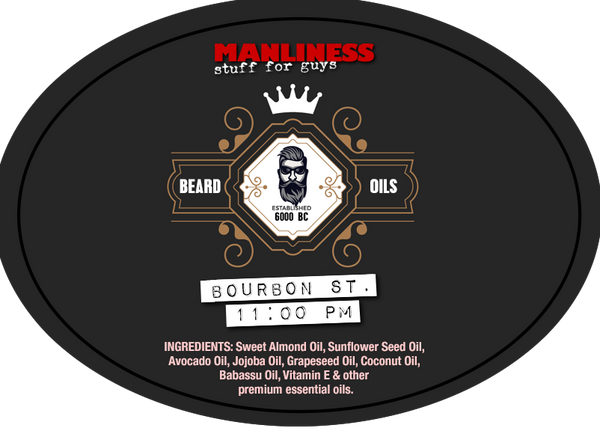 MANLINESS Beard Oil - Bourbon Street 11:00 PM | Beard Conditioner & Beard Softener | 1 Oz.