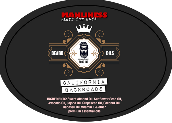 MANLINESS Beard Oil - California Backroads | Beard Conditioner & Beard Softener | 1 Oz.
