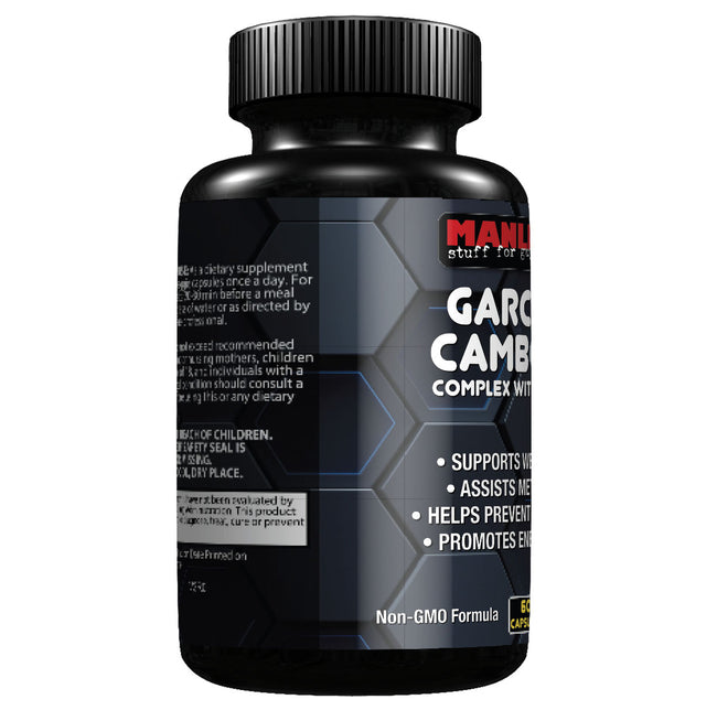 Manliness CAMBOGIA COMPLEX WITH 95% HCA | Natural Appetite Suppressant and Weight Loss | Prevents Fat Storage and Reduces Belly Fat | Energy & Metabolism Booster
