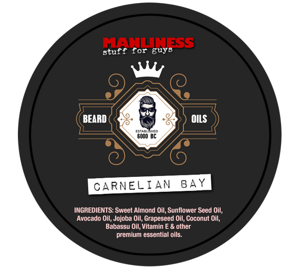 MANLINESS Beard Balm - Carnelian Bay | Conditioner & Styling Pomade | 2 Oz.
