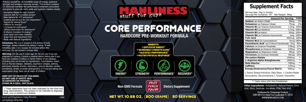 Manliness CORE PERFORMANCE – Fruit Punch | Hardcore Pre-Workout Formula | Incredible Strength Gains | Explosive Energizers | 300 Grams