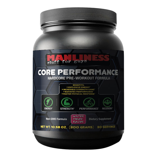 Manliness CORE PERFORMANCE – Watermelon | Hardcore Pre-Workout Formula | Incredible Strength Gains | Explosive Energizers