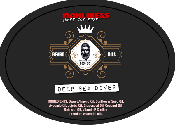MANLINESS Beard Oil - Deep Sea Diver | Beard Conditioner & Beard Softener | 1 Oz.