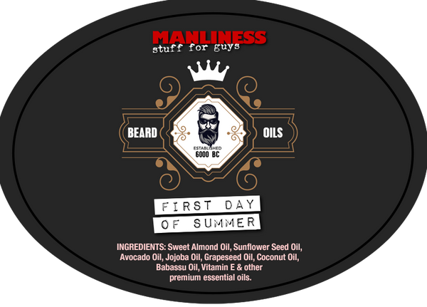 MANLINESS Beard Oil - First Day Of Summer | Beard Conditioner & Beard Softener | 1 Oz.