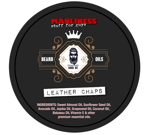 MANLINESS Beard Balm - Leather Chaps | Conditioner & Styling Pomade | 2 Oz.