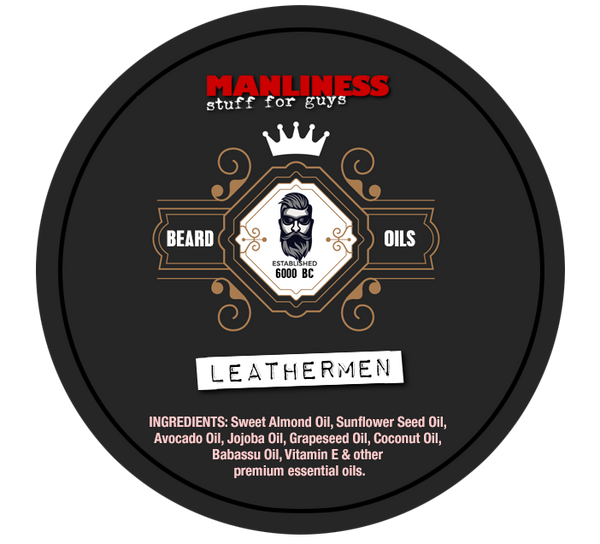 MANLINESS Beard Balm - Leathermen | Conditioner & Styling Pomade | 2 Oz.
