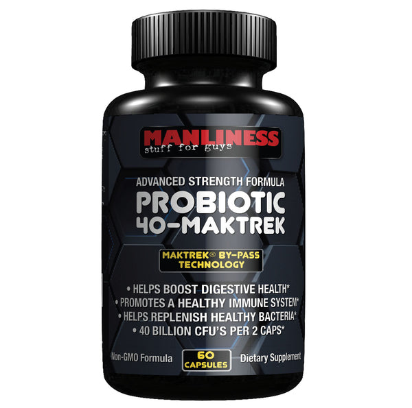 Manliness PROBIOTIC 40-MAKTREK | 40 Billion CFU's per 2 serving | Helps Boost Digestive Health | Promotes a Healthy Immune System | 60 Caps