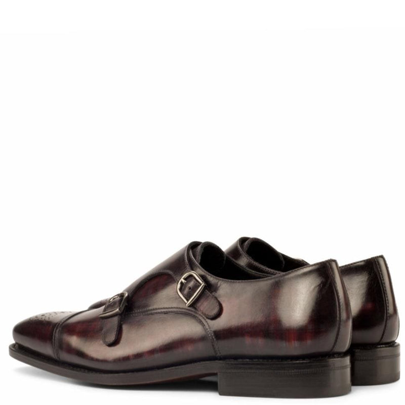 Albert 2 - Burgundy Crust Patina Double Monk Strap Walcott's Footwear