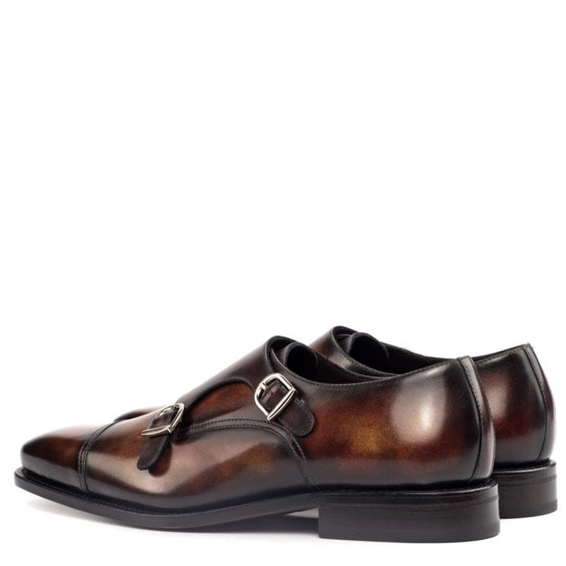 Albert 2 - Fire Crust Patina Double Monk Strap Walcott's Footwear