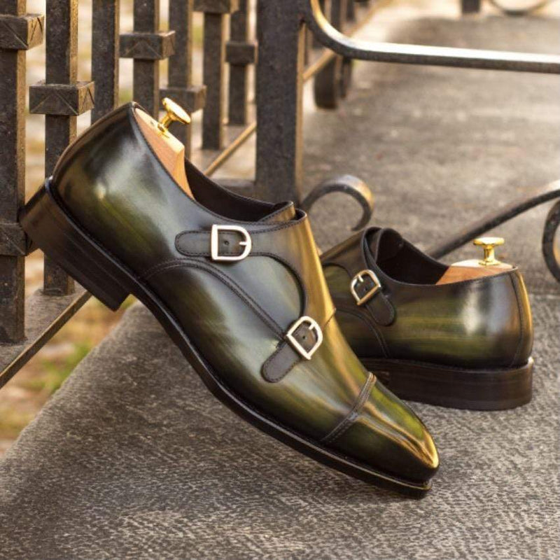 Albert 2 - Khaki Crust Patina Double Monk Strap Walcott's Footwear