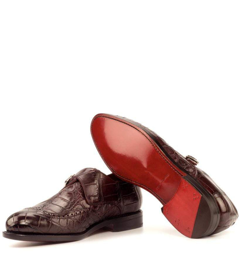 Albert - Burgundy Exotic Single Monk Strap Walcott's Footwear