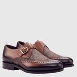 Albert - Tweed Med Brown Painted Calf Monk Strap Walcott's Footwear