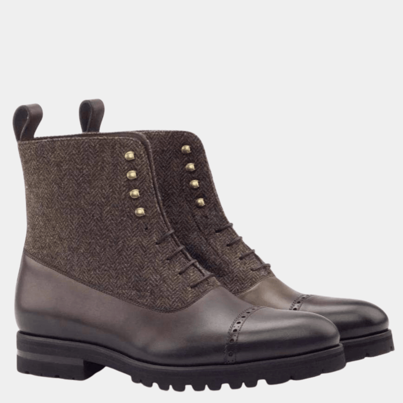 Balmoral - Herringbone Dark Brown Balmoral Boot Walcott's Footwear