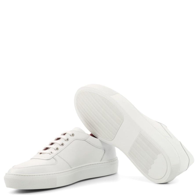 Duncans - White Box Calf Low Top Trainers Walcott's Footwear