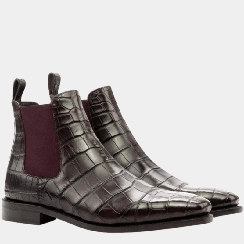 Easington - Dark Brown Exotic Chelsea Boot Walcott's Footwear
