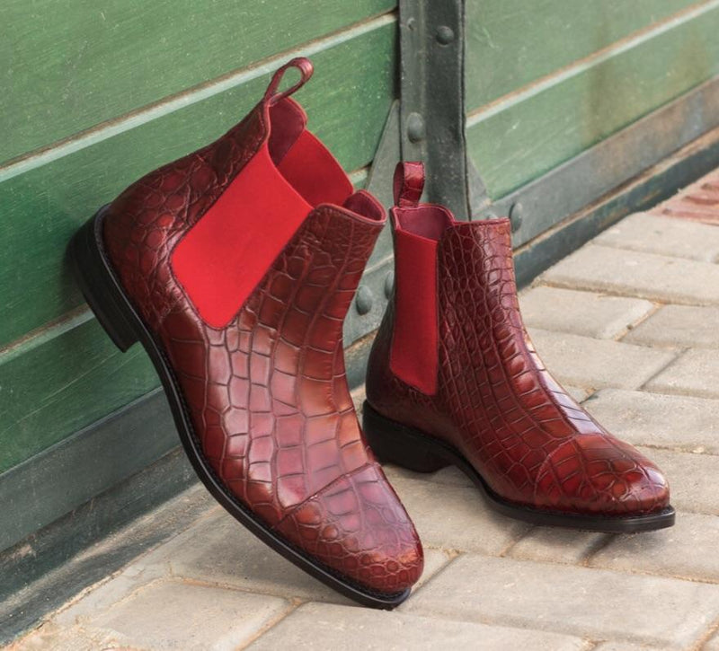 Easington - Red Exotic Chelsea Boot Walcott's Footwear
