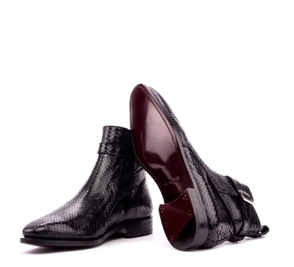 Hagley - Black Exotic Jodhpur Boot Walcott's Footwear UK 5 / D - Standard Fit / Dark Red Leather