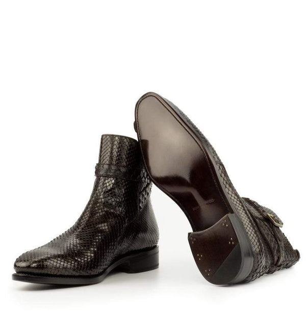 Hagley - Dark Brown Exotic Jodhpur Boot Walcott's Footwear