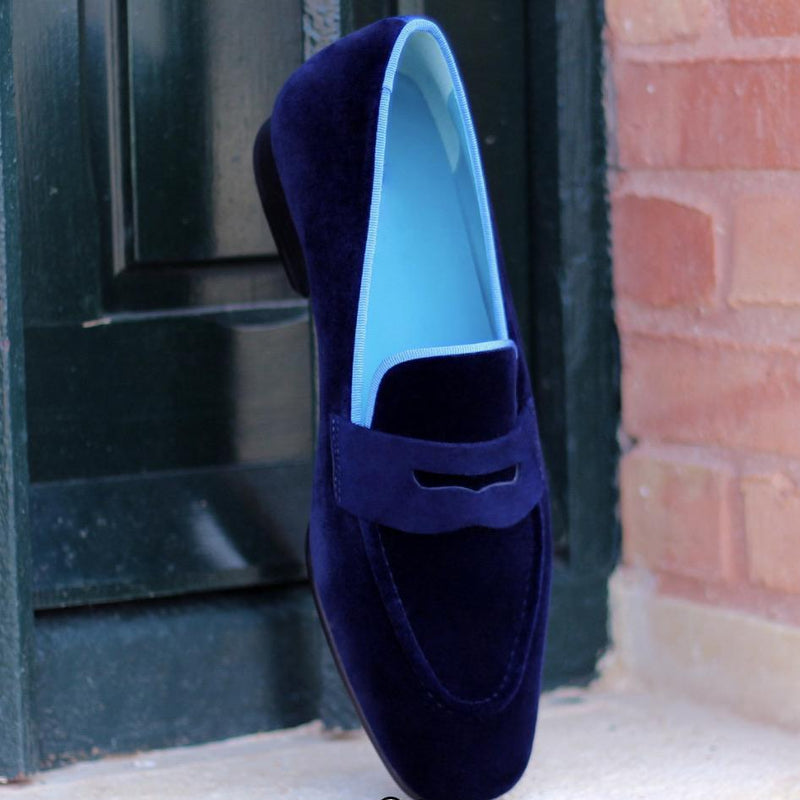 Highgate - Navy Velvet Slipper Walcott's Footwear