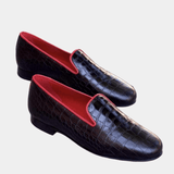 Kettering - Black Croco Slipper Walcott's Footwear