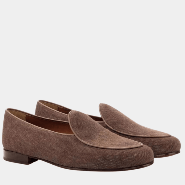 Malvern - Brown Linen Belgian Loafer Walcott's Footwear