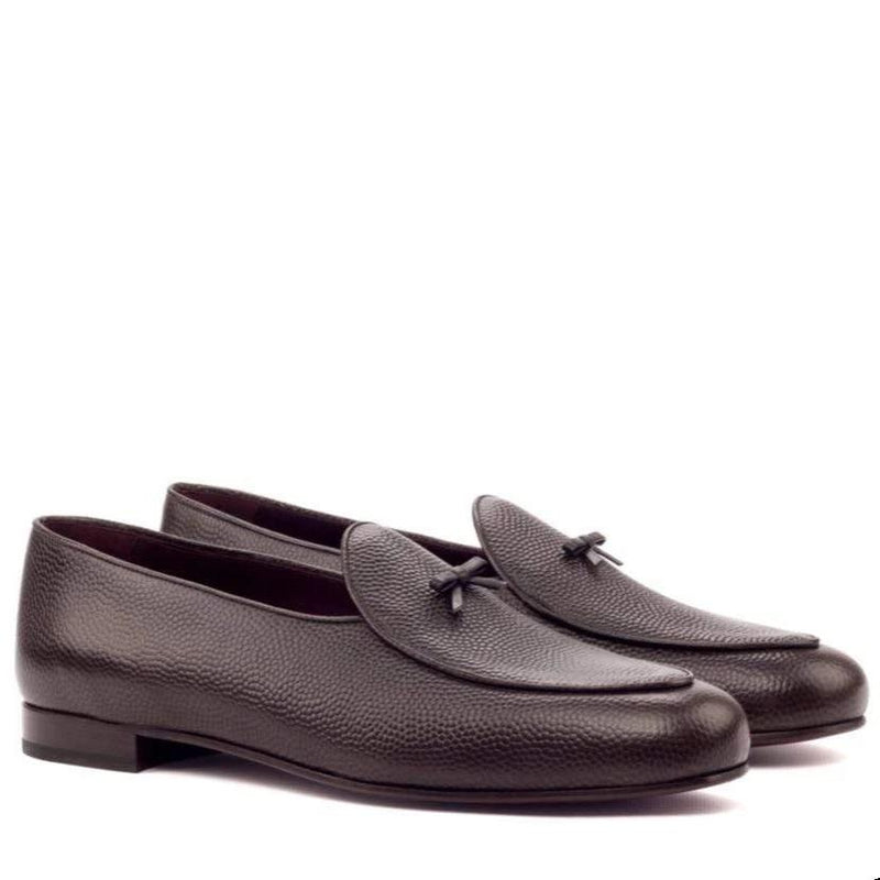 Malvern - Dark Brown Pebble Grain Belgian Loafer Walcott's Footwear