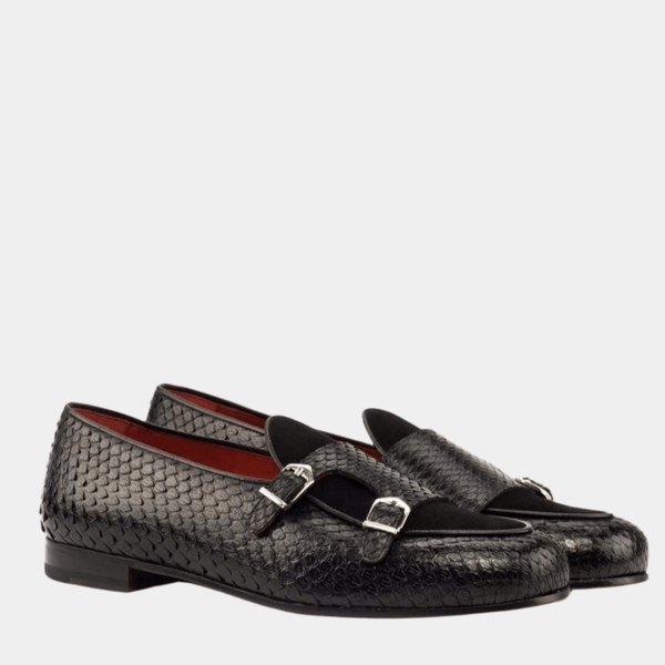 Malvern M - Black Exotic Belgian Loafer Walcott's Footwear