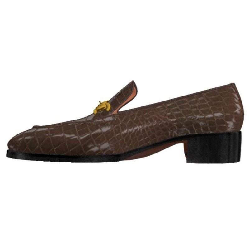 RUSHTON - BELGRAVIA DARK BROWN EXOTIC Horse-bit Loafer Walcott's Footwear