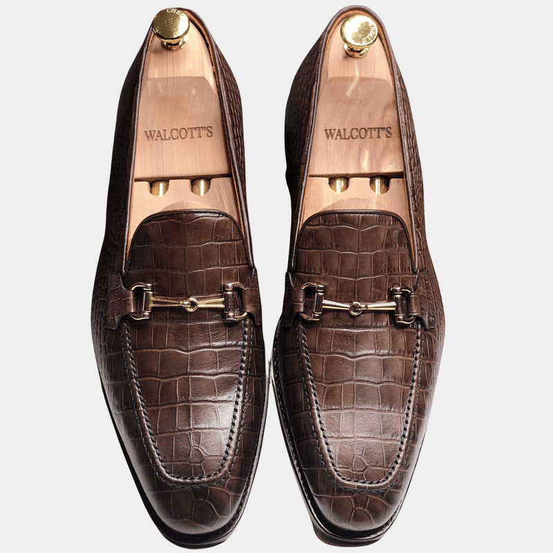 Rushton - Brown Croco Horse-bit Loafer Walcott's Footwear