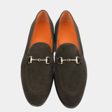 Rushton - Dark Brown Suede Horse-bit Loafer Walcott's Footwear