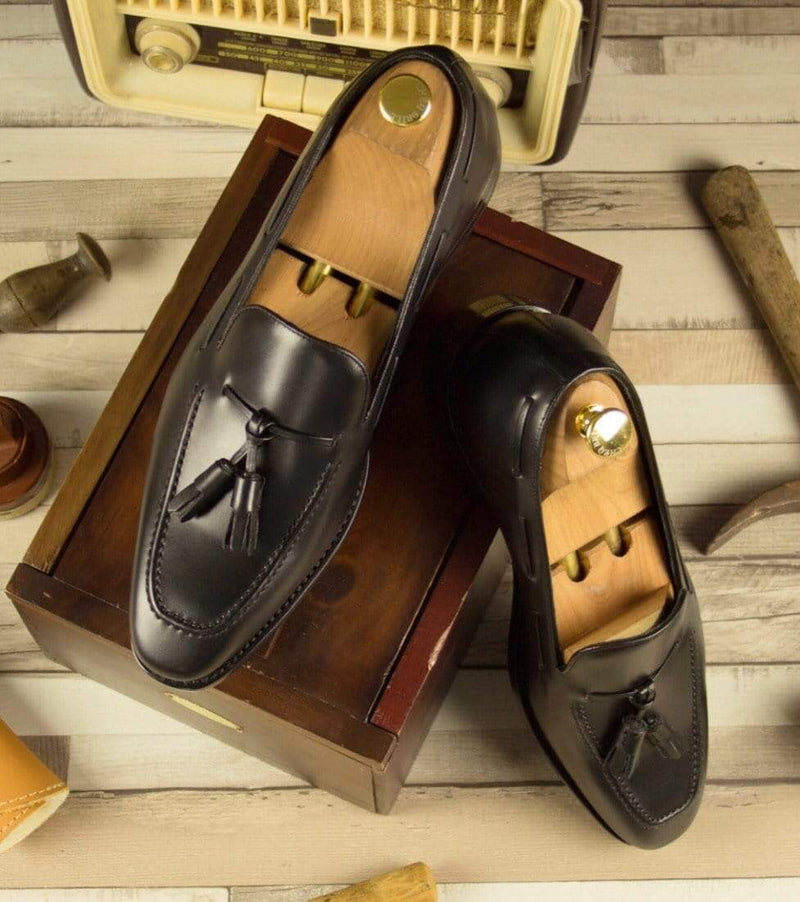 Rushton Tassel - Black Box Calf Tassel Loafer Walcott's Footwear