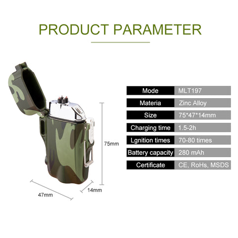 Waterproof/Windproof Military Survival Lighter - Dual Arc Technology (BUY 1 GET 1)