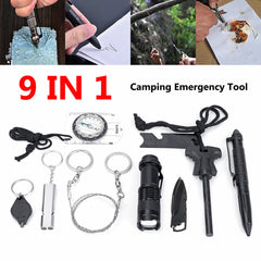 9 in 1 SOS Emergency Camping Survival Tools