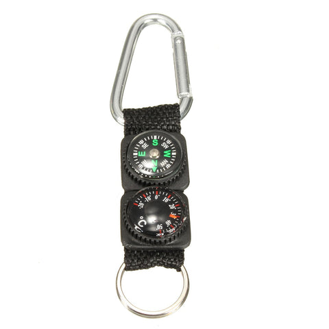 3 in 1 Ring Carabiner Compass Thermometer