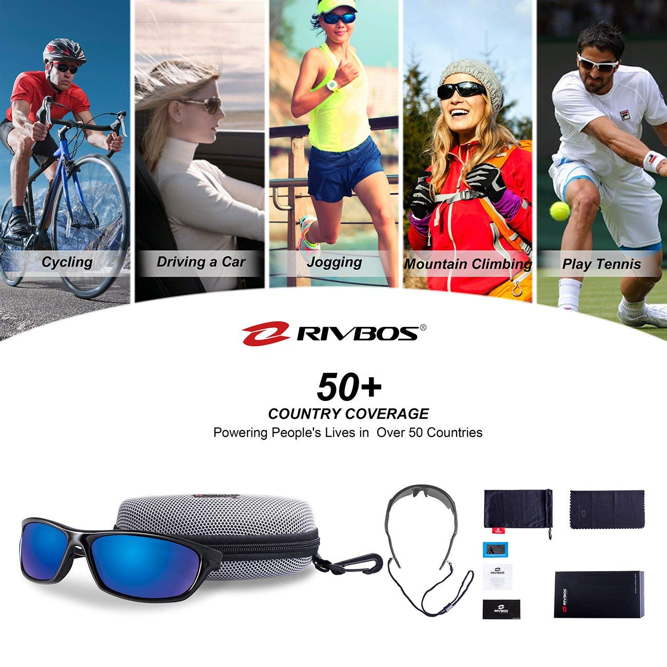 ac4ce6140e RIVBOS Polarized Sports Sunglasses Driving Glasses Shades for Men ...