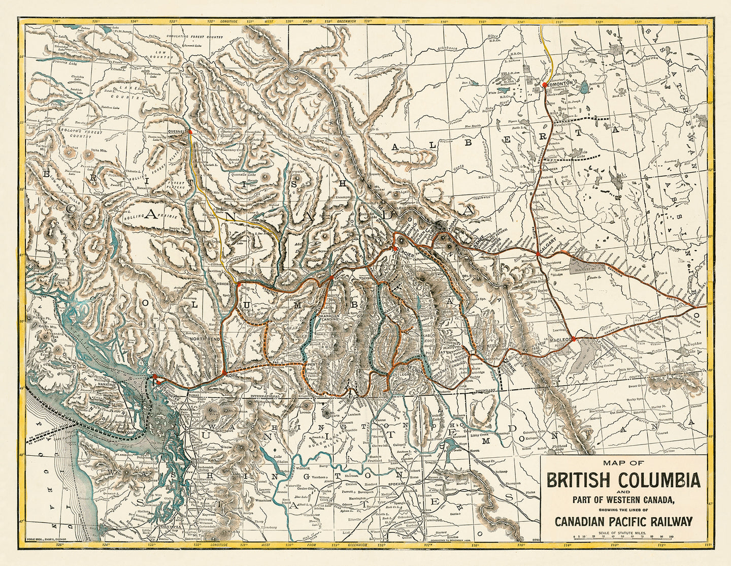 British Columbia - 1893 Canadian Pacific Railway Map