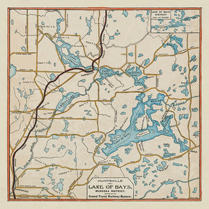 Lake of Bays - Grand Trunk Railway Map from 1903