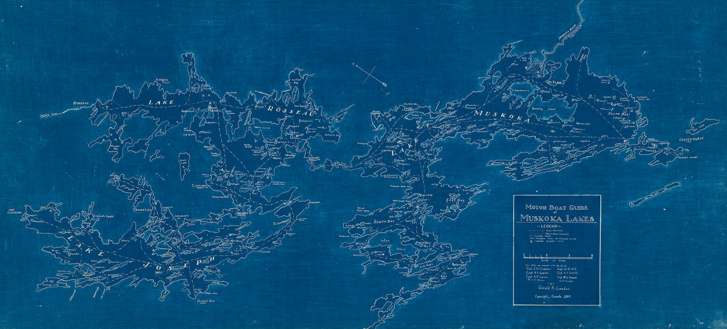 Muskoka Lakes Map - 1948 Motor Boat Guide