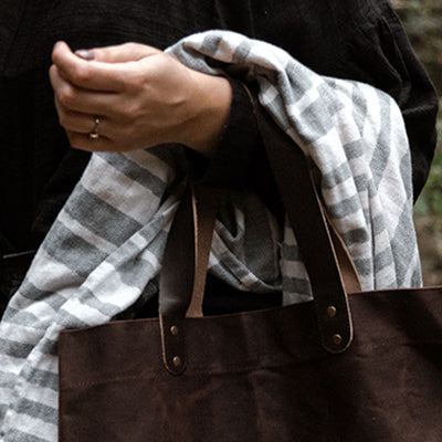 Daily Organics Waxed Leather Tote Bag