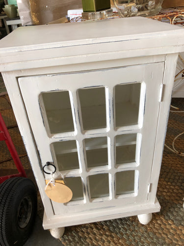 White Glass Front Side Table