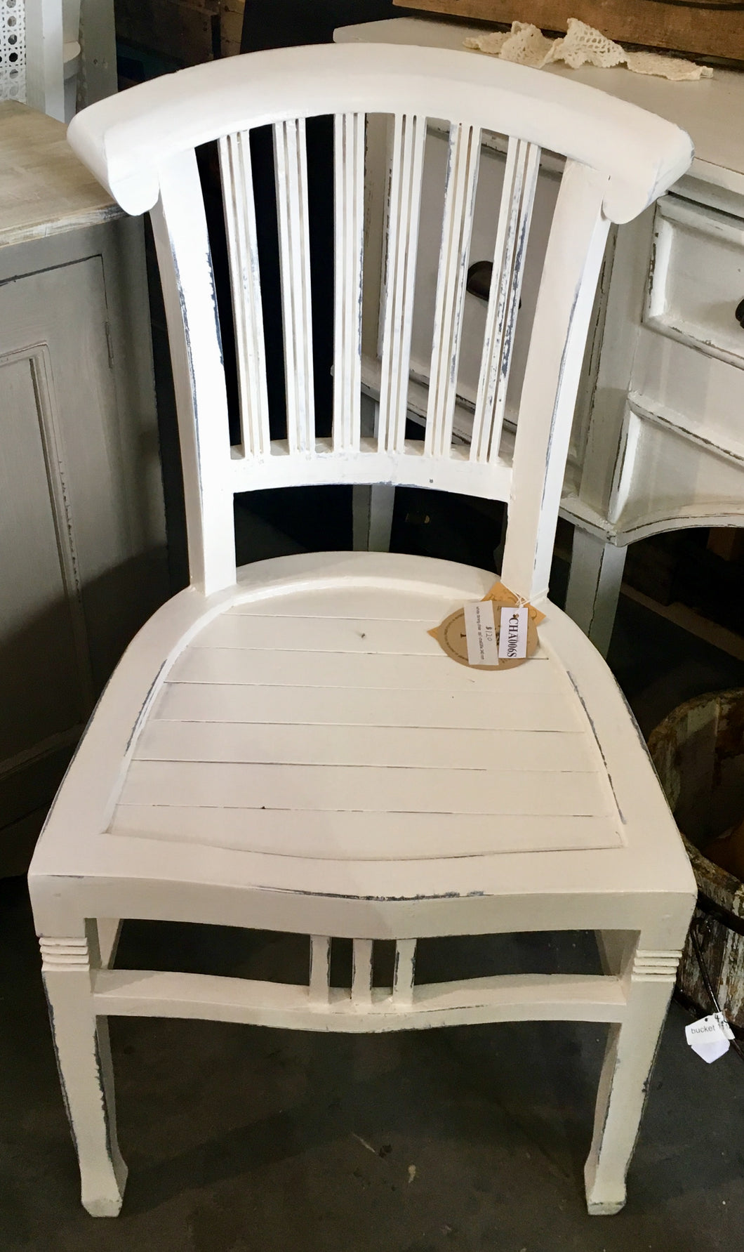 White Distressed Dinning Chair